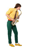 Man with a sax musical instrument Stock Images