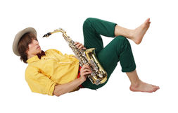 Man with a sax musical instrument Stock Photography