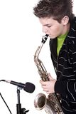 Man and saxophone Stock Images