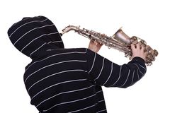 Man and saxophone Royalty Free Stock Photo
