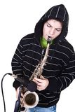 Man and saxophone Stock Photography
