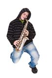 Man and saxophone Royalty Free Stock Image