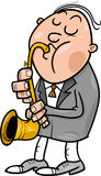 Man with saxophone cartoon illustration Stock Images