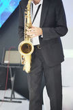 Man with a saxophone Stock Photography