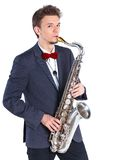 Man with saxophone Royalty Free Stock Images