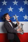 Man with saxophone Royalty Free Stock Photography