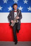 Man with saxophone Stock Photo