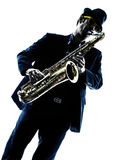 Man saxophonist playing saxophone player Stock Image