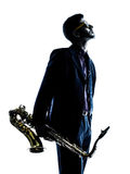 Man saxophonist playing saxophone player Stock Photo