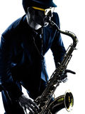 Man saxophonist playing saxophone player Royalty Free Stock Images
