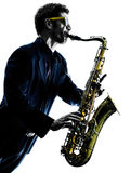 Man saxophonist playing saxophone player Royalty Free Stock Photography