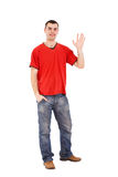 Man  saying Hi Royalty Free Stock Photos