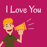 Man Saying I Love You With loud Speaker Stock Images