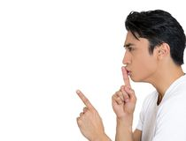Man saying shh, silence Royalty Free Stock Images