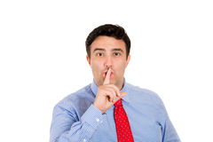 Man saying shhh Stock Photo