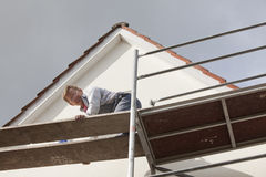 Man on scaffold Royalty Free Stock Photography