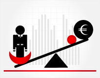 Man on scales. With money Royalty Free Stock Photography