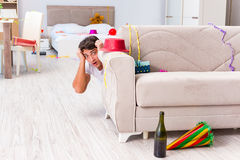 The man scared after the christmas party Stock Images