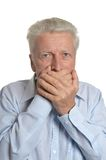 Man scared and shut hands over her mouth Royalty Free Stock Photos