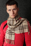Man in scarf stock image