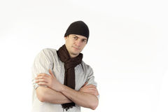 Man with scarf and hat Royalty Free Stock Photography