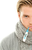 Man scarf thermometer Stock Photo