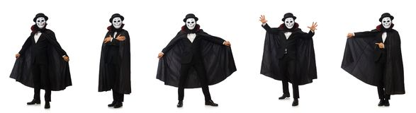 The man with scary mask isolated on white. Man with scary mask isolated on white royalty free stock photos