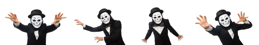 The man with scary mask isolated on white. Man with scary mask isolated on white stock image