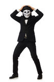 The man with scary mask isolated on white Royalty Free Stock Photography
