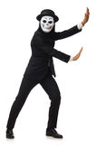 The man with scary mask isolated on white Stock Photo
