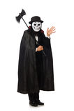 The man with scary mask isolated on white Royalty Free Stock Images