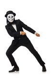 The man with scary mask isolated on white Stock Photography