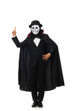 The man with scary mask isolated on white. Man with scary mask isolated on white royalty free stock image