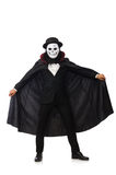 The man with scary mask isolated on white Stock Photos