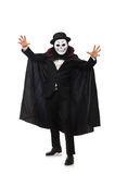 Man with scary mask isolated on white Royalty Free Stock Photography