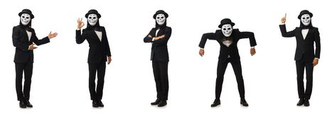 The man with scary mask isolated on white. Man with scary mask isolated on white royalty free stock images