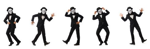 The man with scary mask isolated on white. Man with scary mask isolated on white stock photos