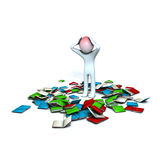 Man with scattered books. Illustration of 3D cartoon man with scattered books on the floor isolated against a white background Stock Photography