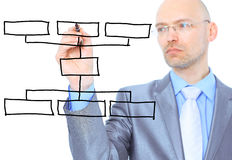 Man scheme draw diagram Royalty Free Stock Photo