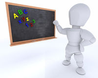 Man with school chalk board back to school Royalty Free Stock Photo