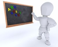 Man with school chalk board back to school Stock Images