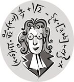 Man of Science. Surrounded by his mathematical thoughts Royalty Free Stock Photo