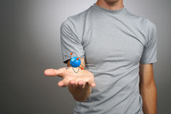 Man scientist with atom model, research concept Royalty Free Stock Photography