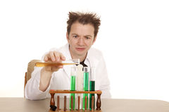 A man scientist test tubes pour Stock Photo