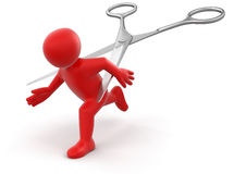 Man and Scissors (clipping path included) Stock Image
