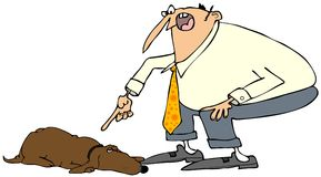 Man scolding a dog. Illustration depicting a man pointing his finger and scolding a dog Royalty Free Stock Images