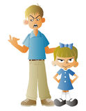 Man scolding a small child royalty free illustration