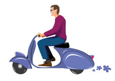 Man on scooter Stock Photo