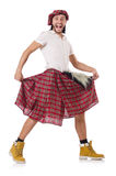 Man in scottish skirt isolated on white Stock Photos