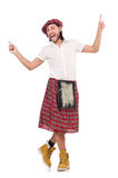 Man in scottish skirt isolated on white Royalty Free Stock Image